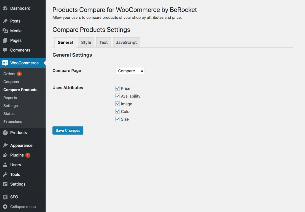 Compare WooCommerce Products - Settings