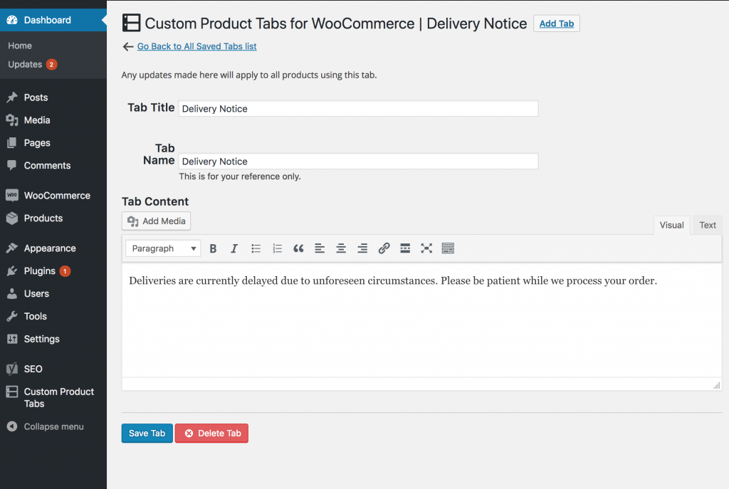 Custom WooCommerce Product Tabs - Global