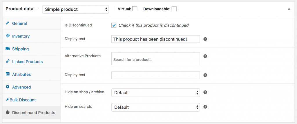 WooCommerce Discontinued Product