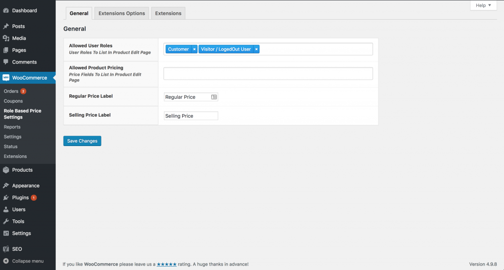 WooCommerce Role Based Pricing Settings