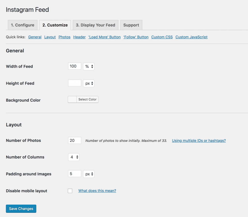 WordPress Instagram Feed - Settings